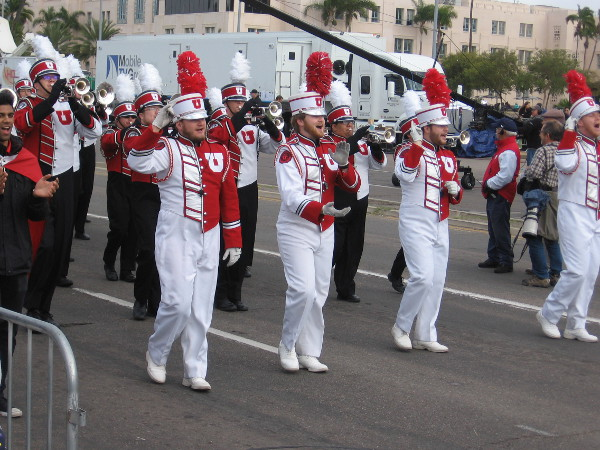 The University of Utah Marching Utes all appear to be having a great time.