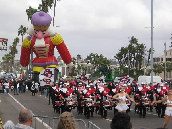 The San Diego State University Marching Aztecs precede Nicholas the Nutcracker!