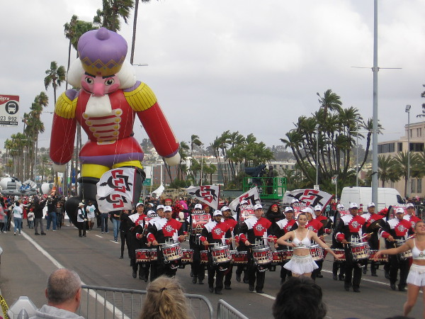 The San Diego State University Marching Aztecs precede Nicholas the Nutcracker!