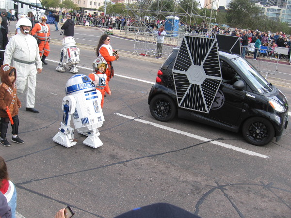 A tiny TIE fighter and tiny Star Wars characters!