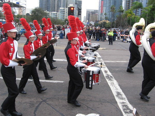 The Bobcat Marching Band came to San Diego from Western Dubuque High School.