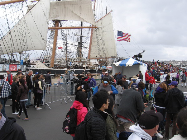 During a break in the parade I turned my camera toward San Diego Bay and captured the nearby Star of India.