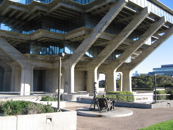 The Theodor Seuss Geisel Memorial stands on the outdoor Forum Level of the Geisel Library at UCSD.