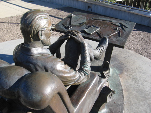 Looking over the bronze shoulder of Dr. Seuss on a sunny day in La Jolla.