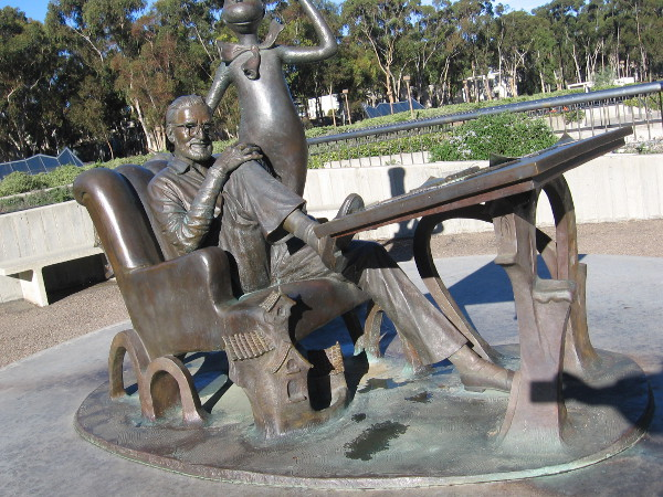 The inspiring bronze Theodor Seuss Geisel Memorial can be found outside the southwest corner of the Geisel Library at UC San Diego.