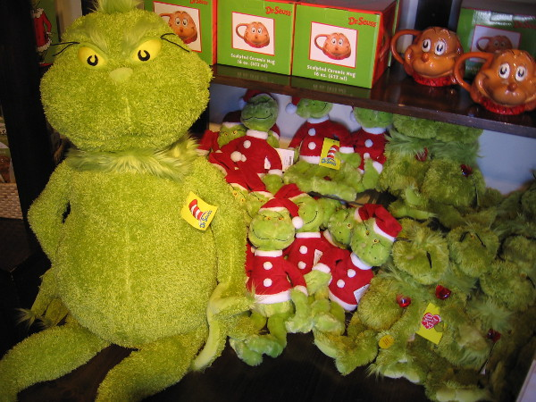 I noticed The Old Globe Theatre's gift shop was well stocked with nasty green Grinches, and his adorable dog Max, too!