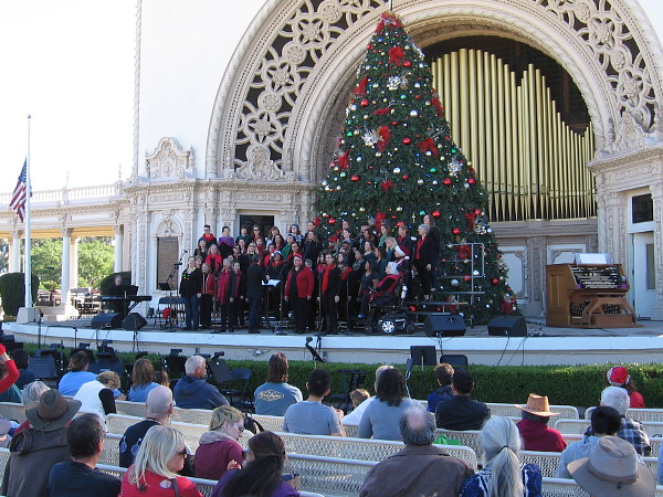 The San Diego Womens Chorus sings holiday music at the Spreckels Organ Pavilion during 2018 December Nights.