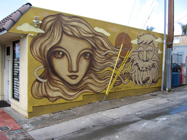 The left half of the wall was painted by San Diego muralist Gloria Muriel.