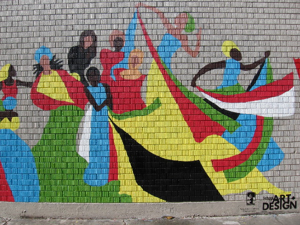 The right half of the mural. Joyful art created by students at San Diego State University adds life to City Heights.
