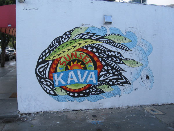 A beautiful new graphic on the wall of Sunset Kava in City Heights.
