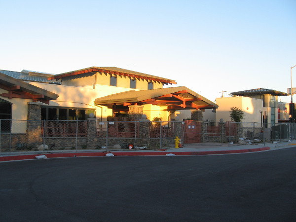 Early sunshine on the handsome new Mission Hills-Hillcrest Branch Library. It will be completed and open to the public in a little over two weeks!