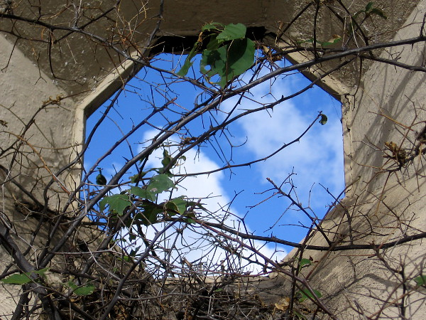 A portal to the magic sky opens in a wall at the Spanish Village Art Center.
