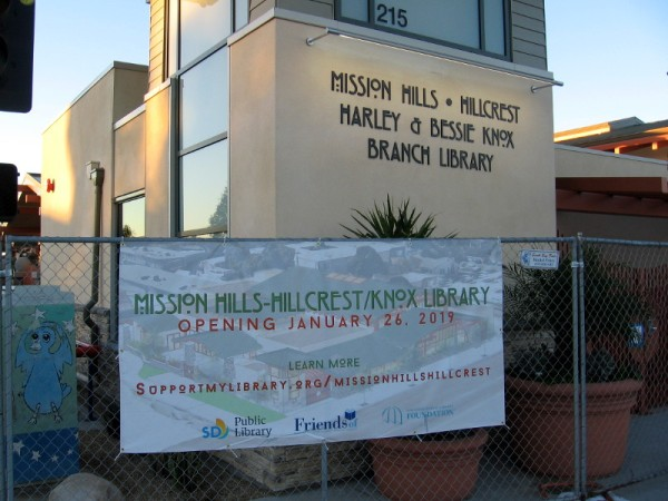 Mission Hills-Hillcrest/Harley & Bessie Knox Branch Library opens on January 26, 2019!