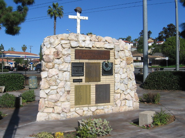 At the center of La Mesa's HYFD Vietnam Memorial Park stands a three-sided monument containing many plaques.