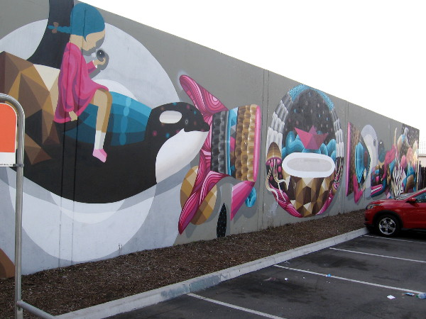 I AM EELCO's colorful mural painted in San Diego for PangeaSeed 2016 Sea Walls: Murals for Oceans project.
