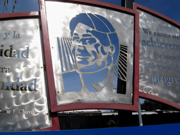 Metal artwork at the 25th and Commercial trolley station honors labor leader and civil rights activist Cesar Chavez.