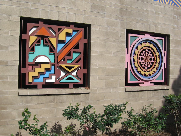 Colorful artwork on the back of the San Diego Police Department Central Division parking garage.