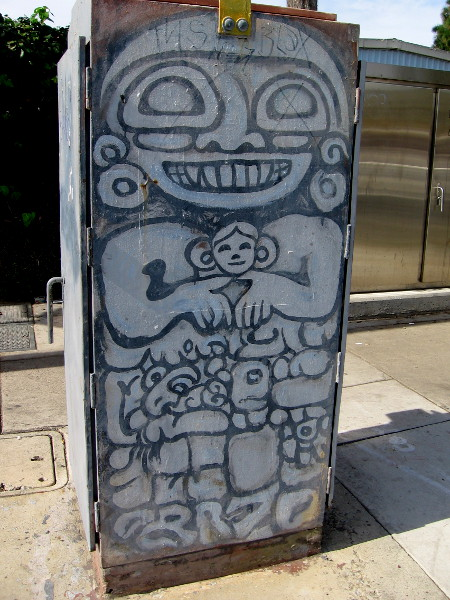 Cool street art on a corner utility box.