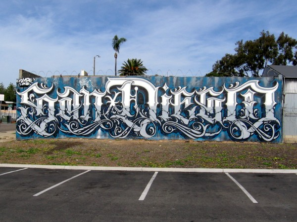"A very cool graffiti-style ""San Diego"" mural at 20th Street and Imperial Avenue painted by Dyse One."