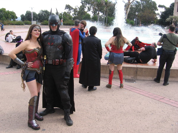 Wonder Woman and Batman pose for photos in Balboa Park. It seems these superheroes can never get enough public adulation.