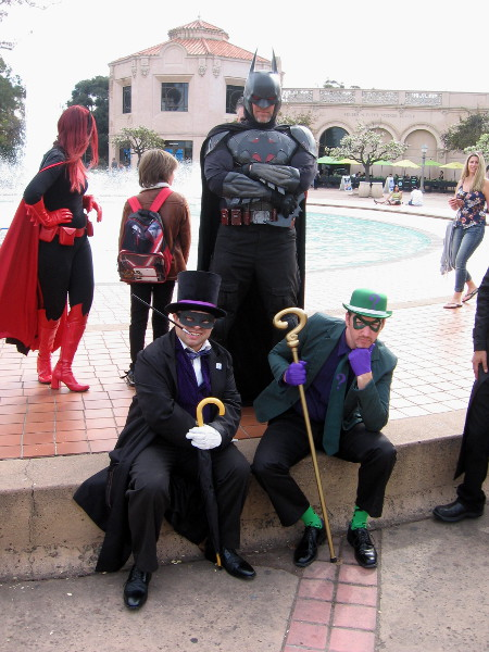 I spotted Penguin and Riddler with members of the Justice League. Fortunately, Batman stood nearby keeping an eye on these supposedly reformed supervillains.