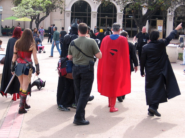 I escaped unscathed. Now it's time for the heroic Justice League to begin their patrol of Balboa Park.