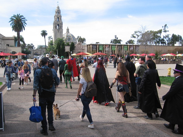 Super powered folk amble casually into Plaza de Panama. The Justice League patrol of Balboa Park has been a resounding success.