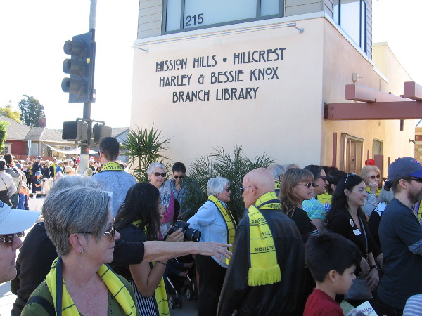 Many have gathered for the ceremony at the new Mission Hills-Hillcrest Branch Library.