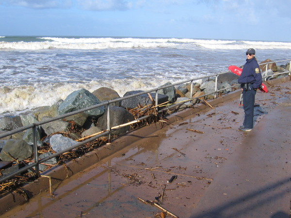 The friendly lifeguard said that waves can wash over the walkway during high tide at this time of the year.