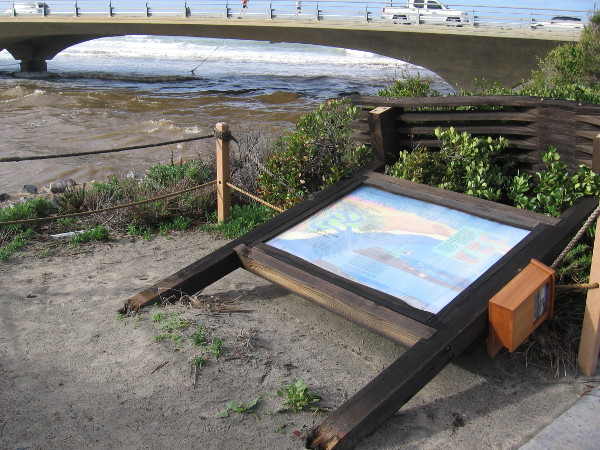 An information sign was pushed over by high winds from yesterday's storm. The power of nature is displayed.