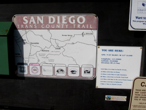 Sign includes map of the San Diego Trans County Trail, which runs east from the ocean along Peñasquitos Creek, through Los Peñasquitos Canyon.