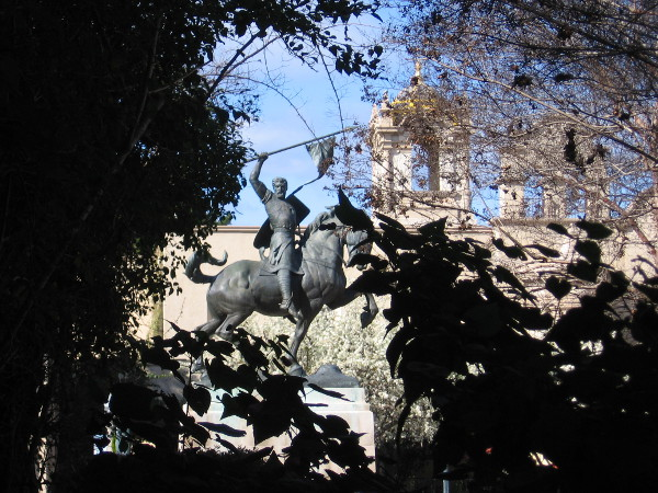 A glimpse of the El Cid statue in Balboa Park on a spring-like Sunday in February.