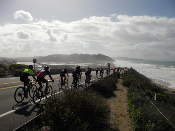 A line of bicyclists head down Pacific Coast Highway from Del Mar toward Torrey Pines State Beach.