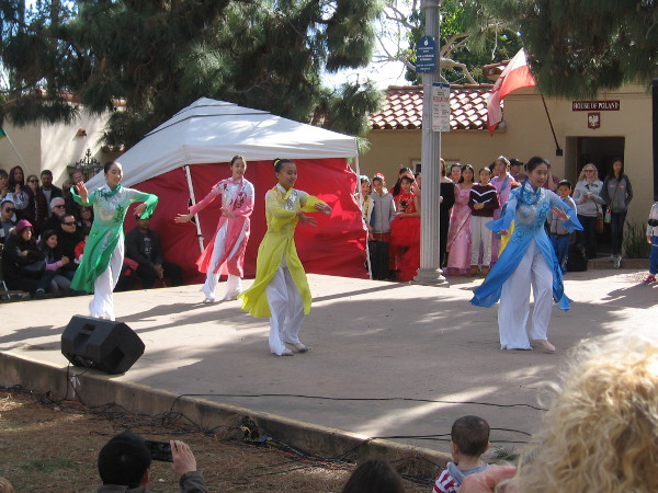 Dancers entertain visitors to Balboa Park as the House of China celebrates the New Year at the International Cottages.