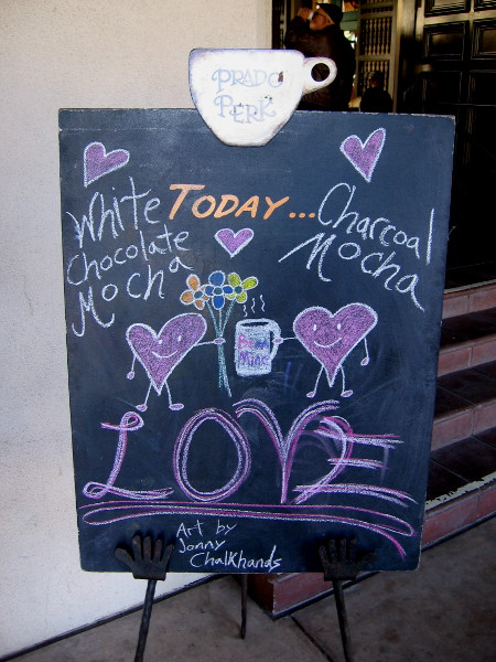 Prado Perk's chalkboard indicates it's almost Valentine's Day!