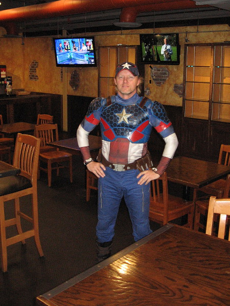 I spotted Captain America in the cafe of the Federal Building, future home of the Comic-Con Museum! (He's actually a cool member of San Diego's Science Fiction Coalition!)