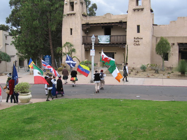 Colorful banners approach the Balboa Park Club.