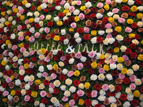 A wall of roses welcomes guests to Coffee 'N' Talk.