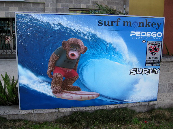 A cool surf monkey in front of a Pacific Beach shop.