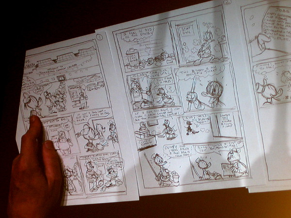 Three pages of the five page Donald Duck comic are nearly done. Through an odd series of events, Donald has become janitor at a comic book convention!