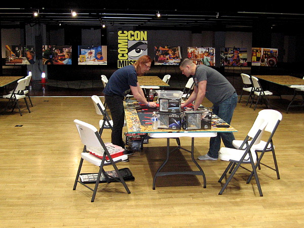Guys play Star Wars Armada inside the Federal Building, future home of the Comic-Con Museum in Balboa Park.
