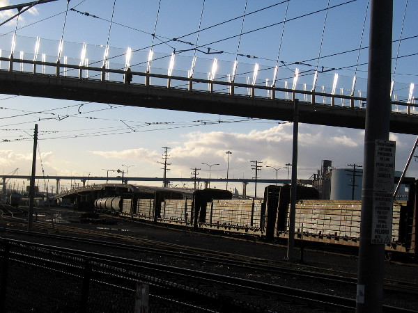 Gleaming light on bridge and train.