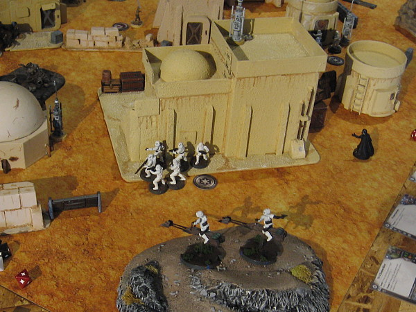 Star Wars Legion miniatures game set depicts the planet Tatooine. I see Darth Vader following those stormtroopers!