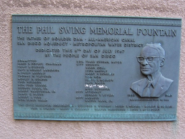 Plaque near the small desert garden that has been planted in the basin of The Phil Swing Memorial Fountain, which was dedicated on July 6, 1967.