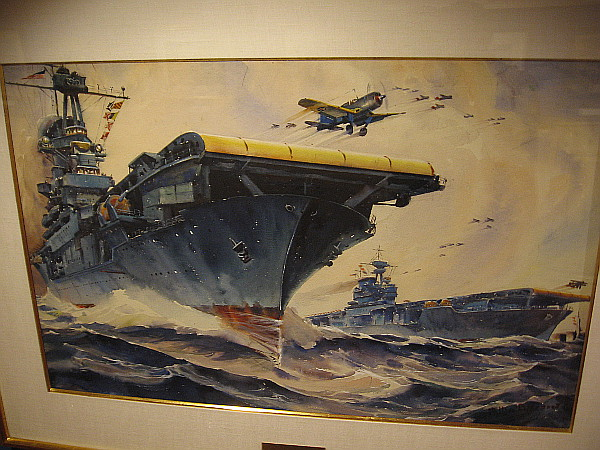 Planes Roar Into Action from the U.S. Aircraft Carriers Wasp and Enterprise, watercolor, 1941. The Irvine Museum Collection.