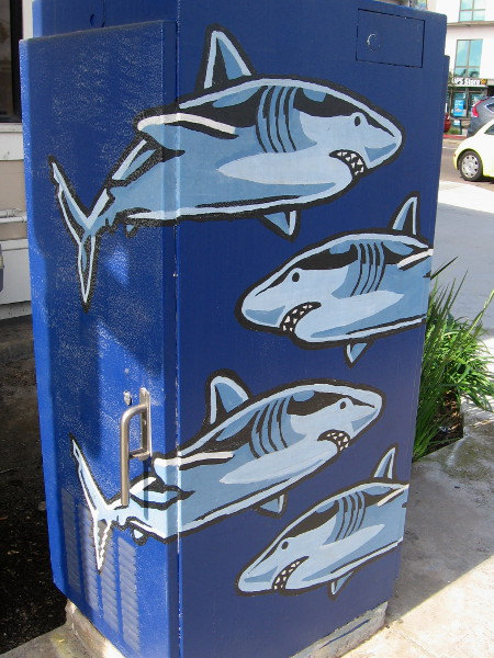 Fun shark street art on a utility box at the corner of Shelter Island Drive and Rosecrans Street.