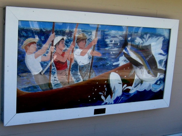 The Union Bank on the same corner has a colorful mural depicting fishermen near its entrance.