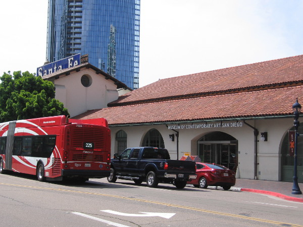 Looking across Kettner Boulevard at the Santa Fe Depot. The old baggage building on the north side of the train station is now home to the Museum of Contemporary Art San Diego.