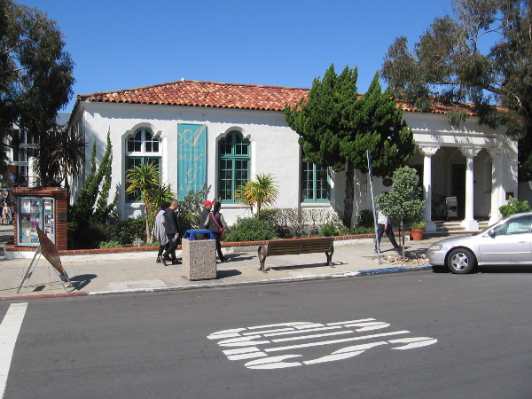 The southwest corner of the Athenaeum Music and Arts Library in La Jolla.
