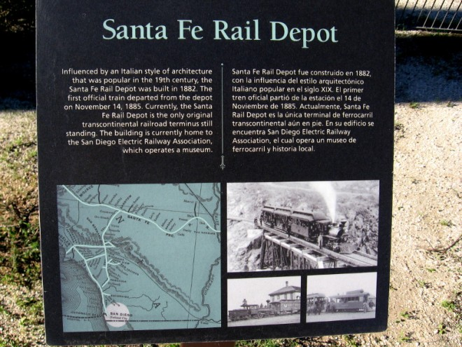 Sign concerns Santa Fe Rail Depot. It's the only original transcontinental railroad terminus still standing.